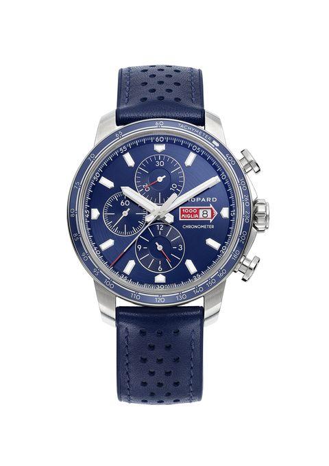 mille miglia gts azzurro power control, orologio acciaio, cinturino pelle e caucciu