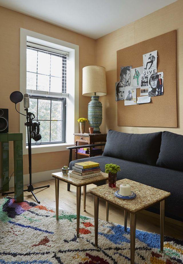 sofa, two coffee tables