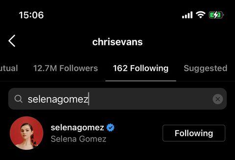 chris evans follows Selena gomez, but selena does not follow chris