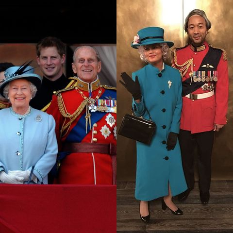 the queen, dressed in blue coat and hat with prince philip on the balcony of buckingham palace sliced with chrissy teigen adn john legend dressed at them both