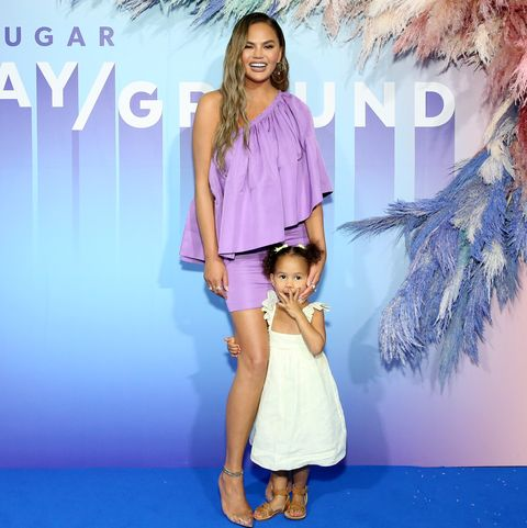 new york, new york   june 23 chrissy teigen and luna legend poses for a photo during popsugar playground at pier 94 on june 23, 2019 in new york city photo by monica schippergetty images for popsugar and reed exhibitions