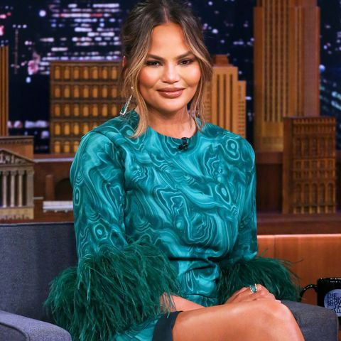 Chrissy Teigen Is Summer-Ready in a Green Dress With an Up-to-There Slit