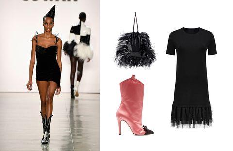 Clothing, Fashion model, Black, Fashion, Dress, Shoulder, Footwear, Little black dress, Fashion design, Joint,