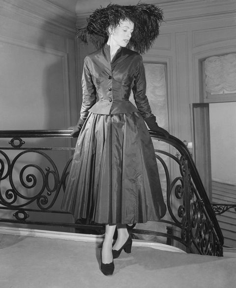 Woman Modelling Dior Taffeta Dinner Ensemble
