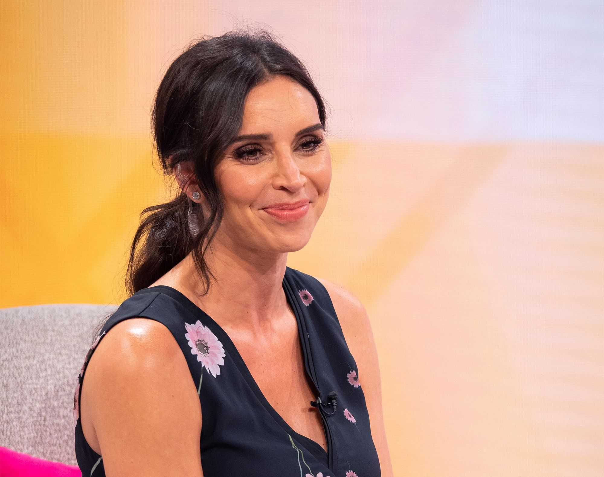 Christine Lampard wears the perfect blue floral dress