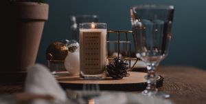 Christmas advent candle light and table setting