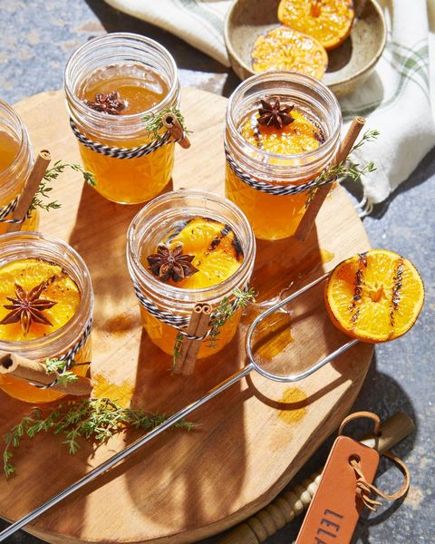 hot toddy with charred oranges