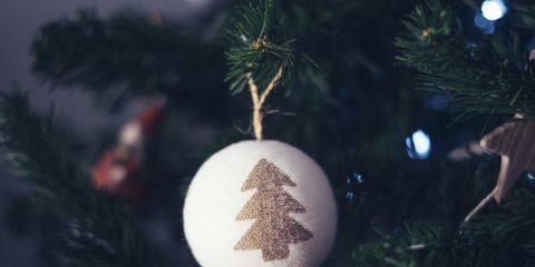Christmas bauble hanging at Christmas tree