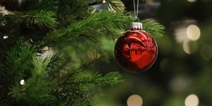 A Christmas bauble hangs from a tree