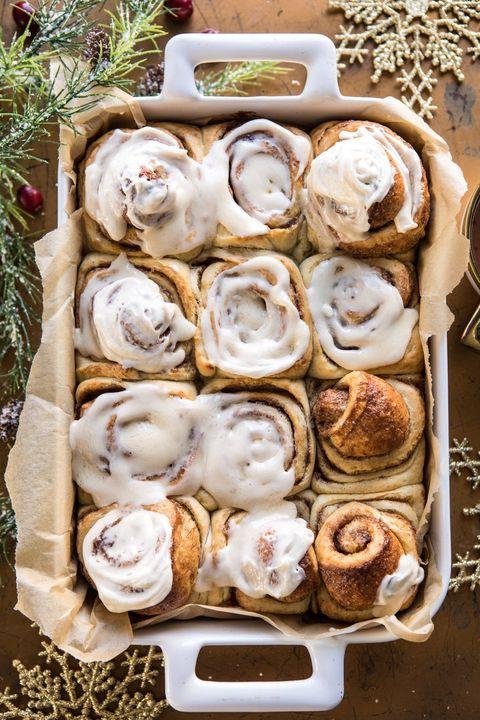 christmas breakfast eggnog cinnamon rolls