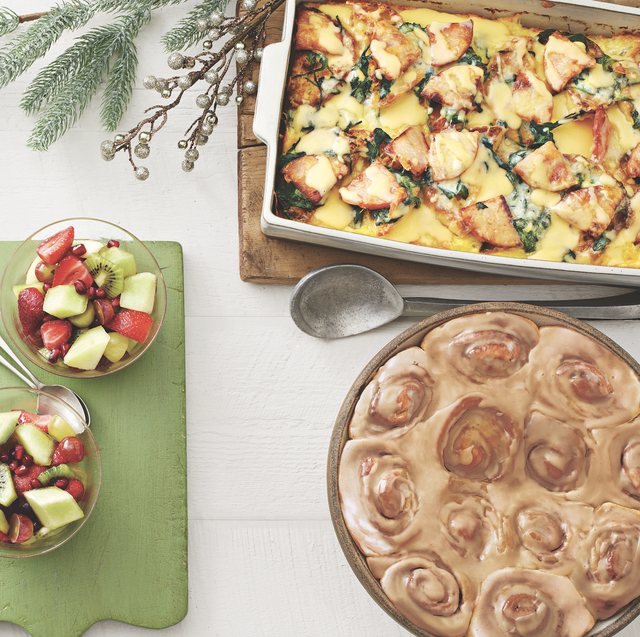 christmas brunch egg casserole cinnamon rolls and fruit salad