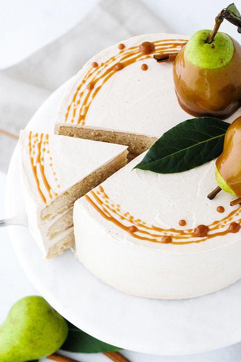 christmas cake caramel pear