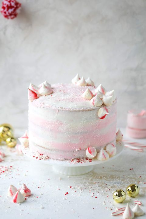 christmas cake pink peppermint