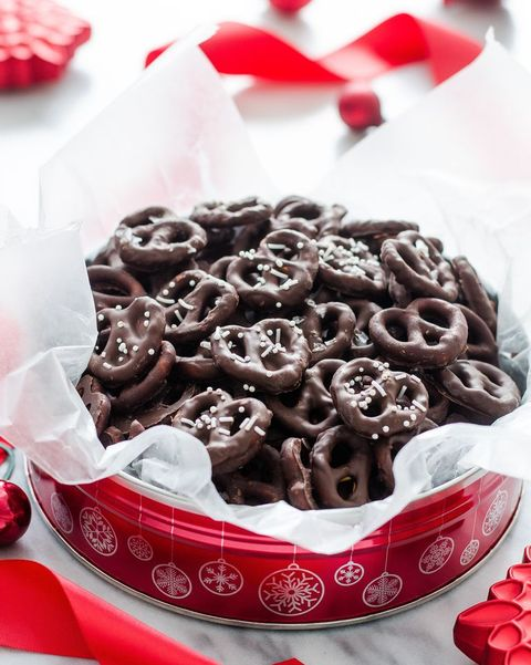 dark chocolate covered pretzels in red tin
