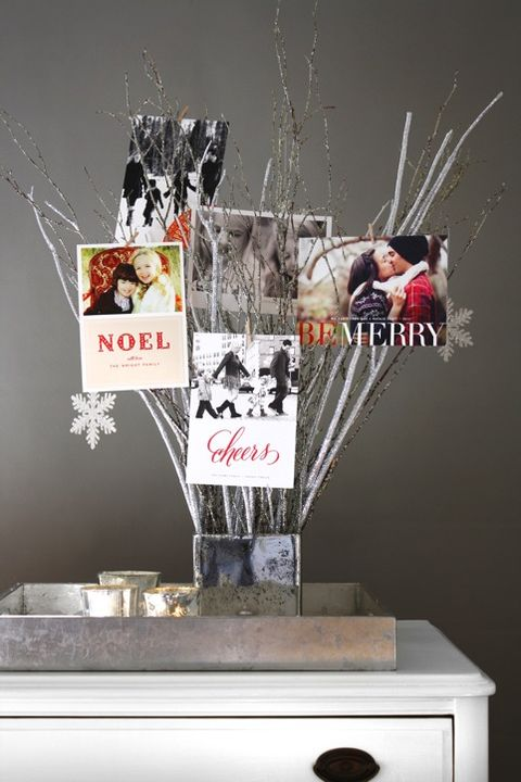 christmas card display ideas branches