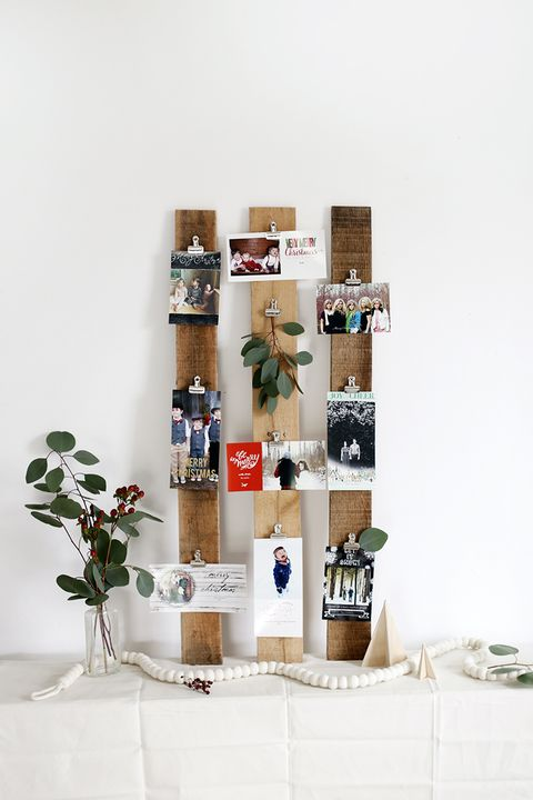 christmas card holder wood planks