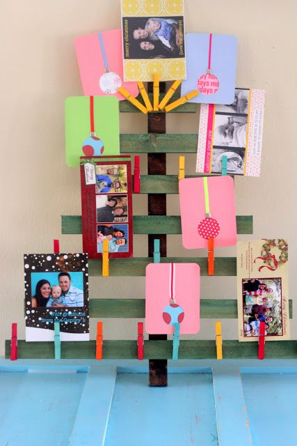 christmas card holder wooden tree