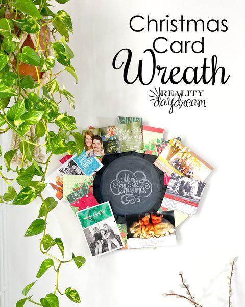 christmas card display ideas wreath