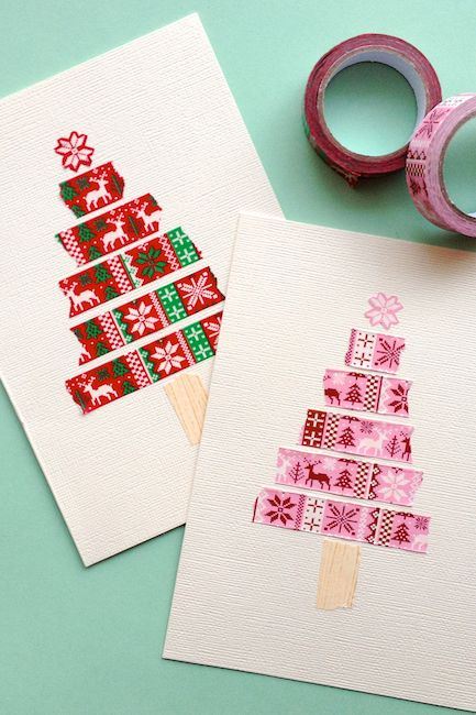 17 diy christmas card ideas easy homemade christmas cards were washi tape christmas tree card m4hsunfo