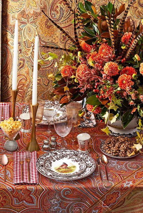 elaborate red and orange christmas tablescape