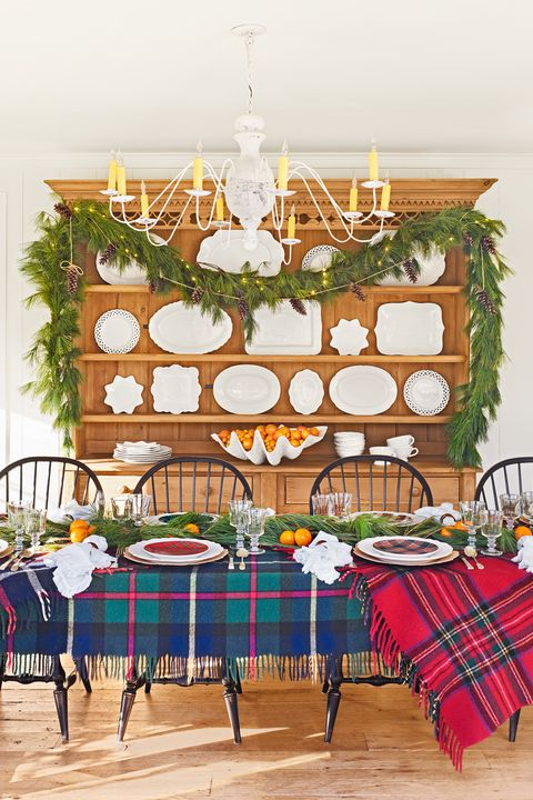 Dining room, Room, Table, Furniture, Branch, Christmas decoration, Design, Interior design, Pattern, Home,