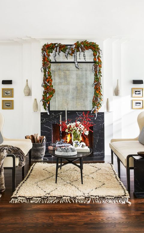 black and white contemporary living room decorated for christmas
