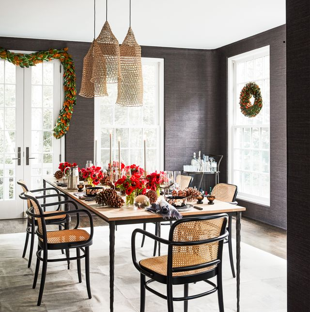 contemporary dining decorated for christmas