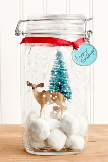 christmas crafts - snow globe jar