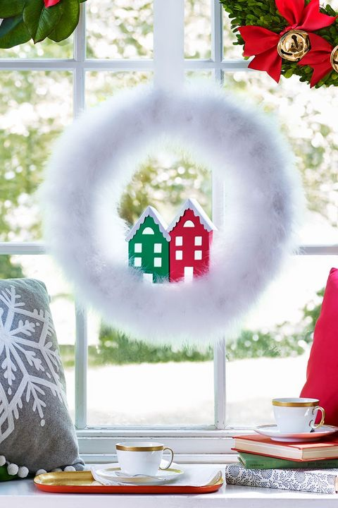 christmas crafts snowcapped village wreath