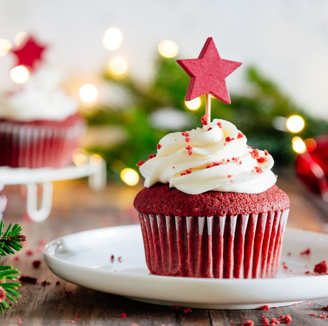 closeup of cupcake on table during christmas