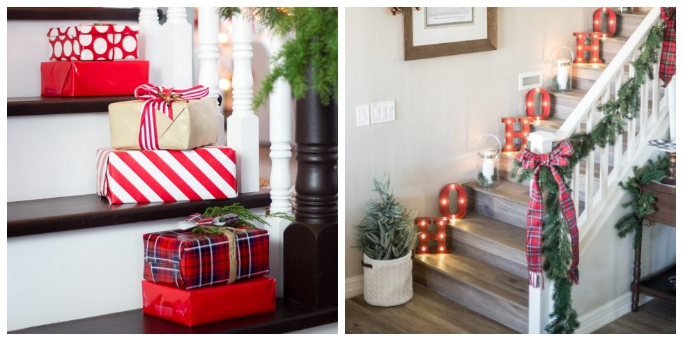 12 christmas decorations for stairs how to decorate a staircase rh countryliving com holiday decorating ideas for banisters holiday decorating ideas for staircase
