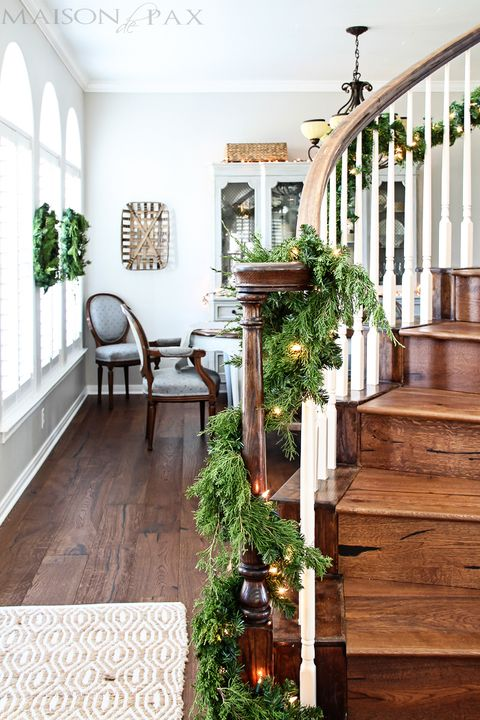 christmas decorations for stairs greens