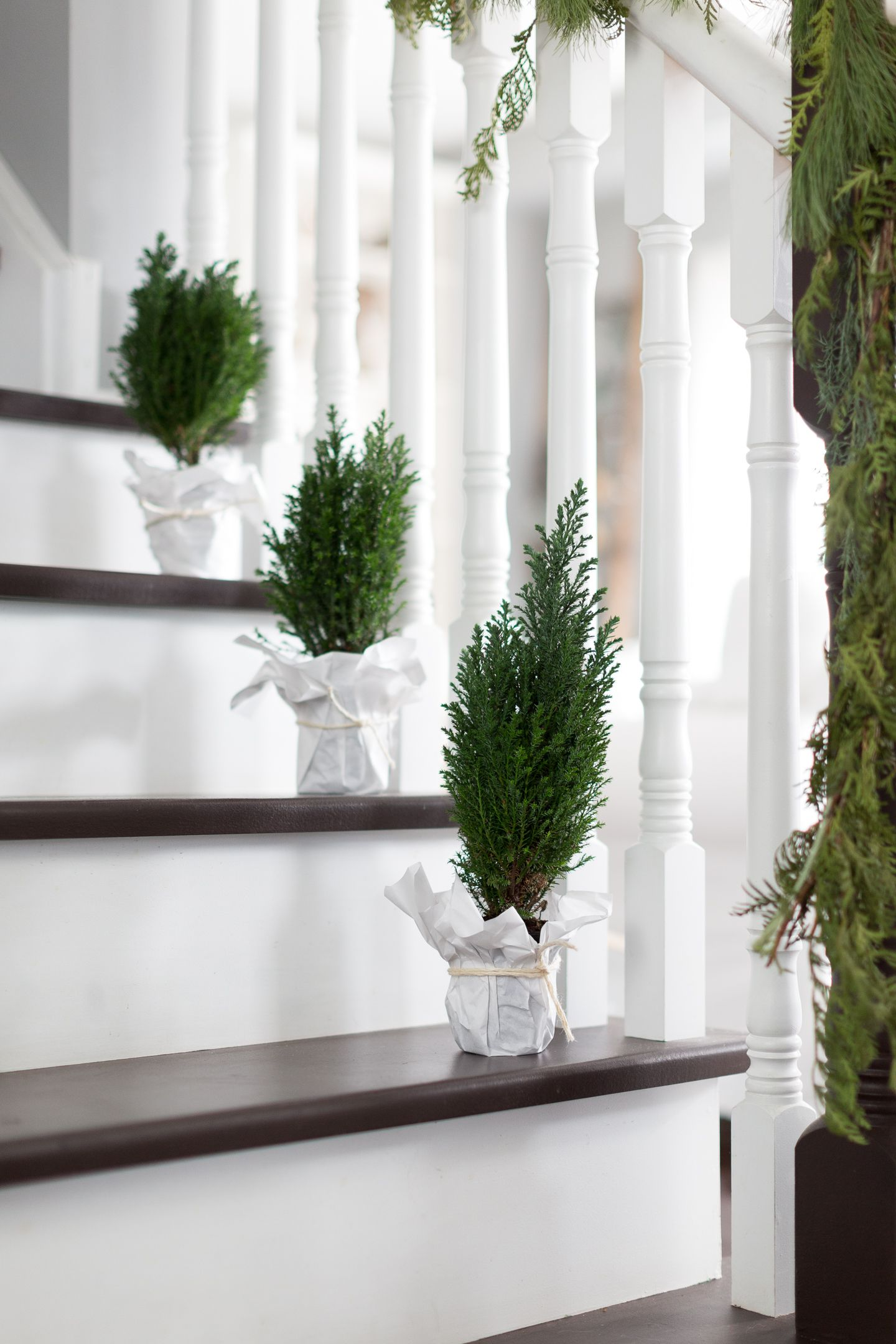 christmas decorations for stairs plants