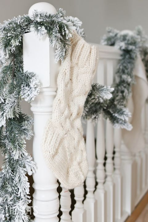 christmas decorations for stairs white
