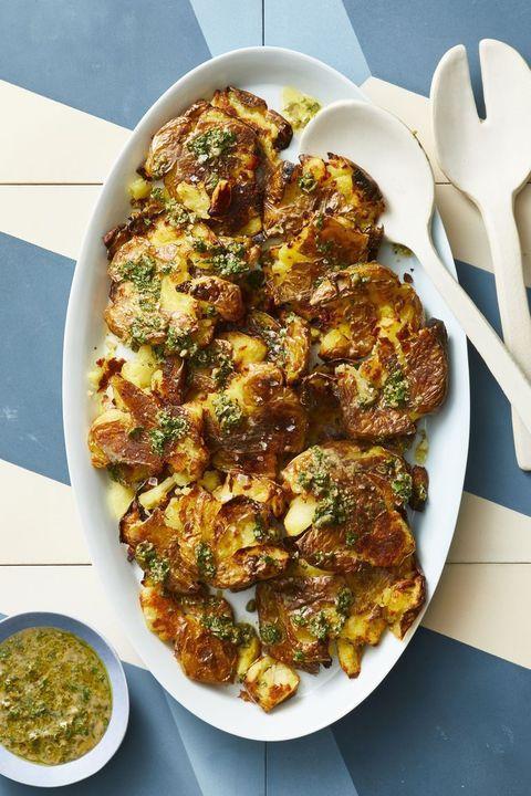Crispy smashed potatoes with caper gremolata recipe