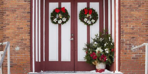 doors and wreath - How To Decorate Your Door For Christmas