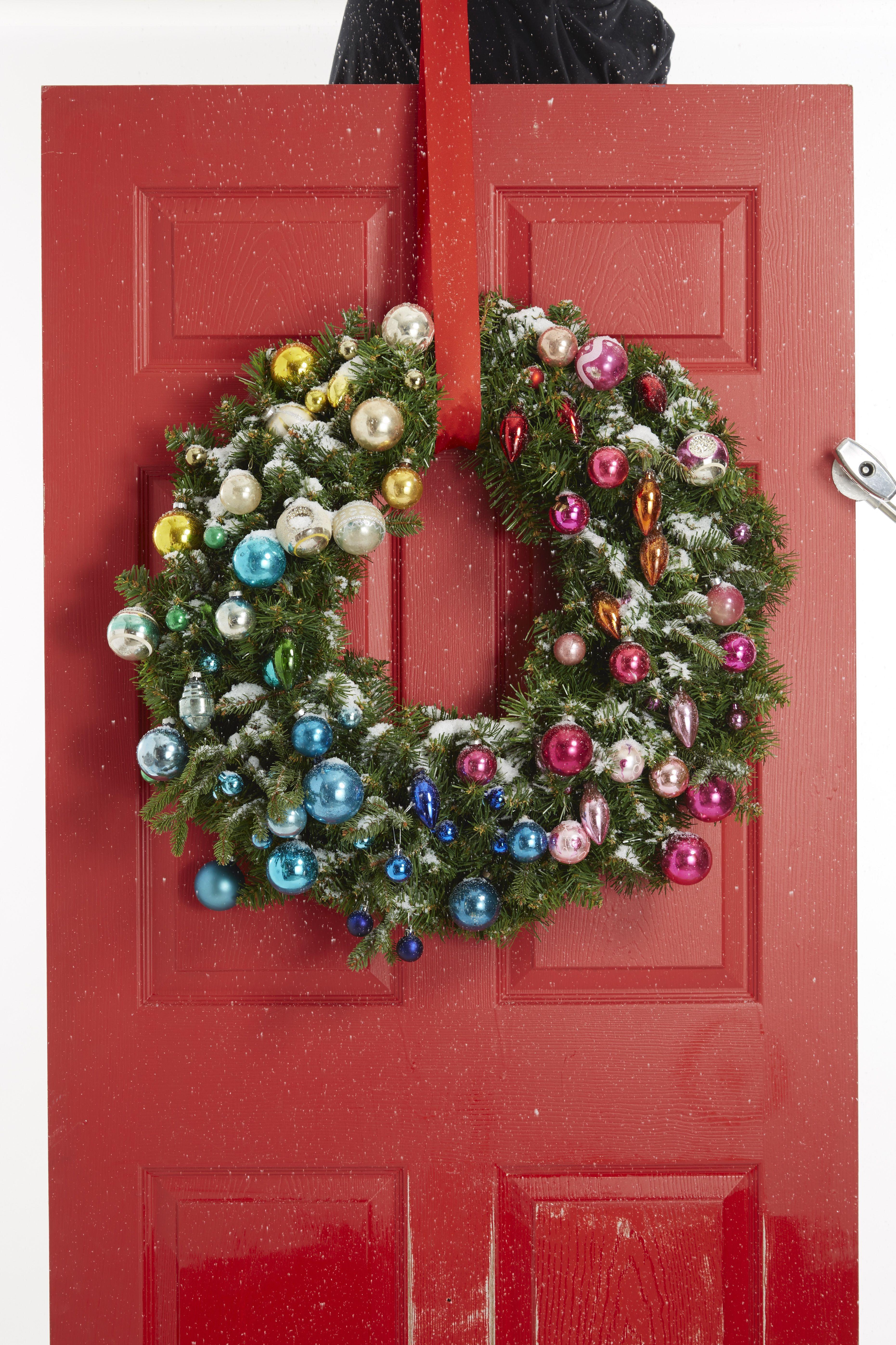 Christmas Light Garland with Balls Ornaments Green Garland Xmas Door Party Decor