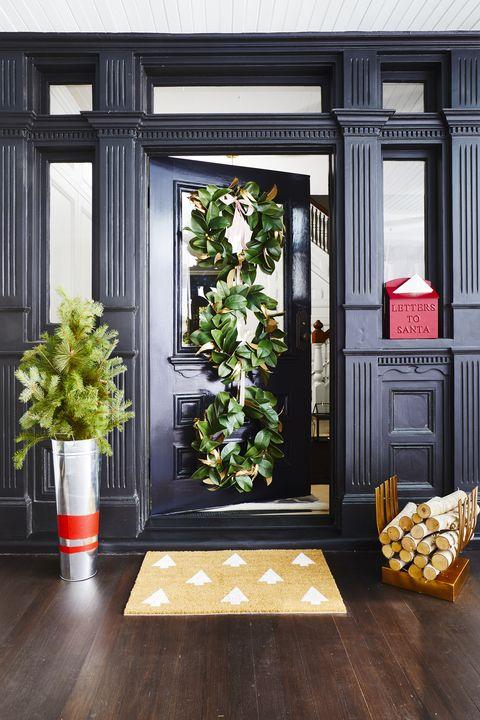 Christmas Door Decorations - Three Magnolia Wreaths