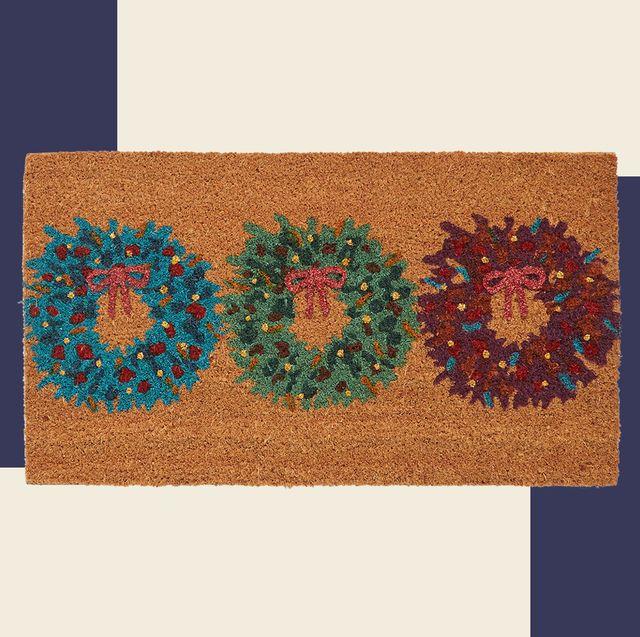 christmas doormat with a trio of mini wreath designs