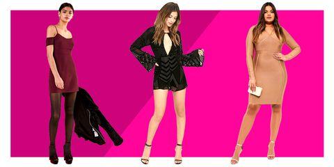 Clothing, Footwear, Leg, Dress, Sleeve, Shoulder, Magenta, Pink, Red, Formal wear,