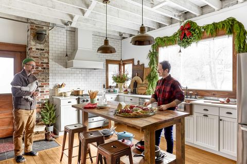 rustic farmhouse kitchen decorated for christmas