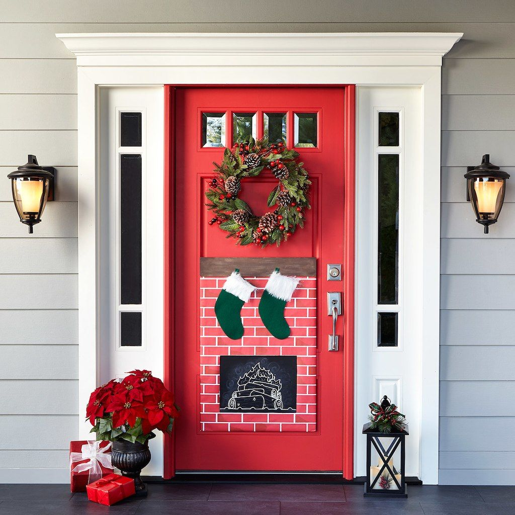 Superieur Christmas Fireplace Door Decor