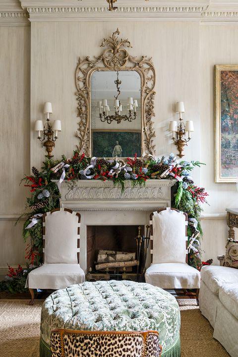 christmas garland in formal living room