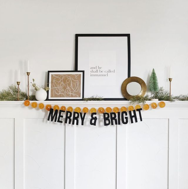 christmas garland merry and bright dried orange slices
