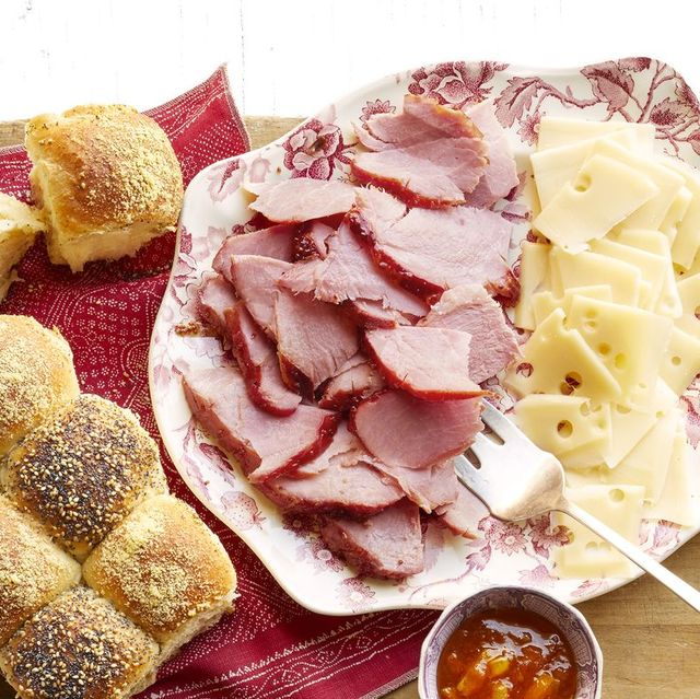 christmas ham recipes sliced ham and cheese on platter with rolls