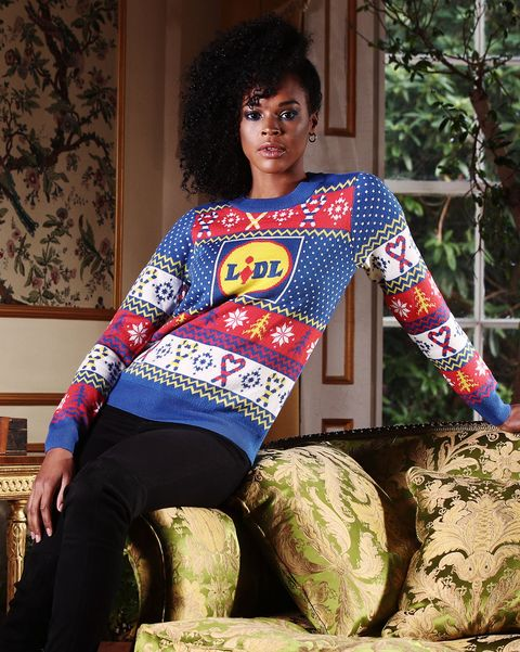 free for editorial use models showcase lidl's first ever branded christmas jumper, the festive fashion must have of the year and available for just £799 in store from thursday 26th november