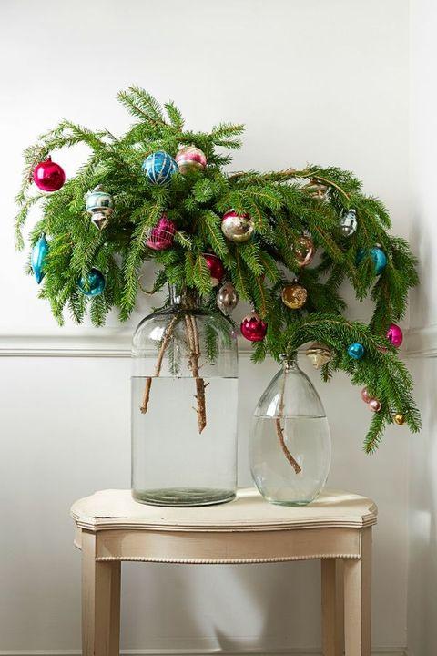 christmas living room boughs