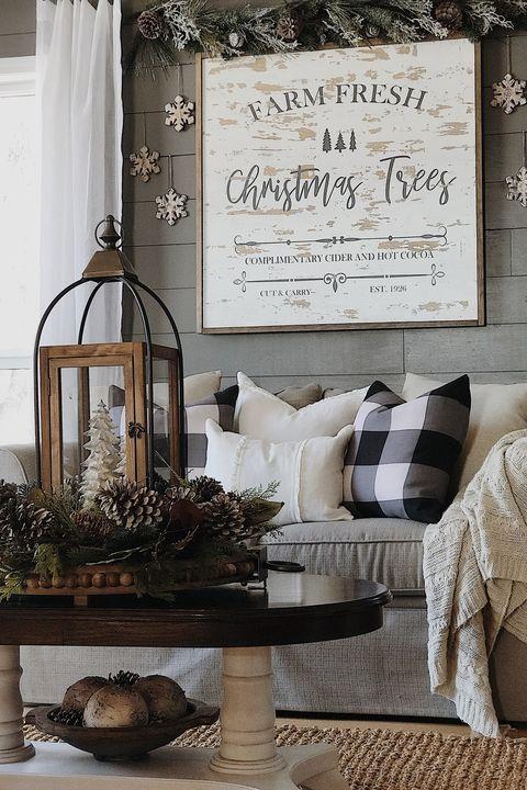 Christmas Living Room Decor Ideas - Farm Sign