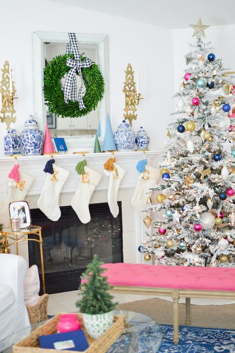 colorful christmas decor mantel