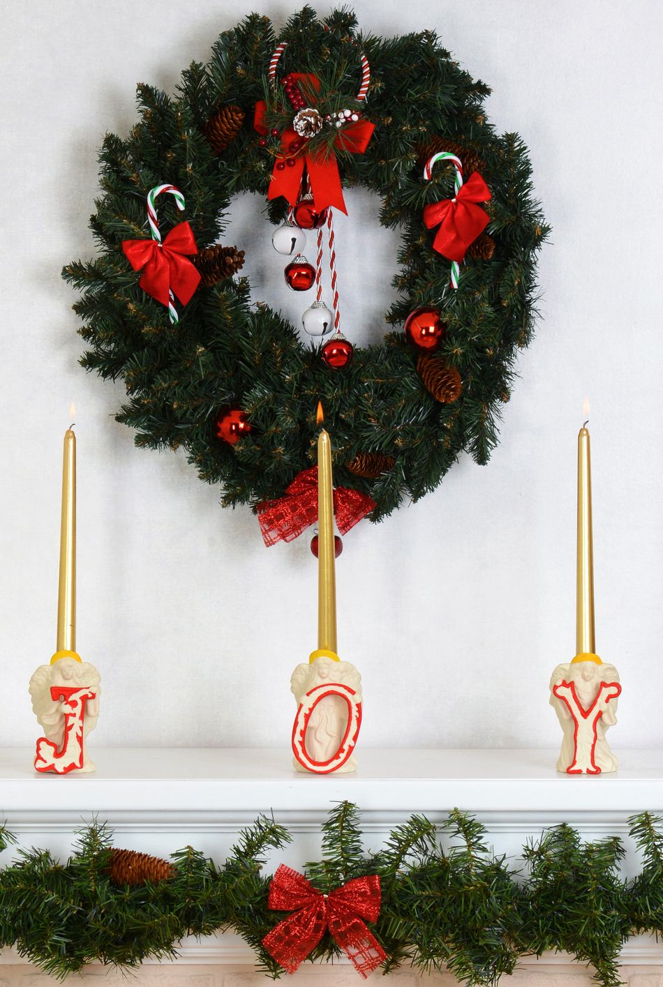 closeup fireplace mantel with wreath